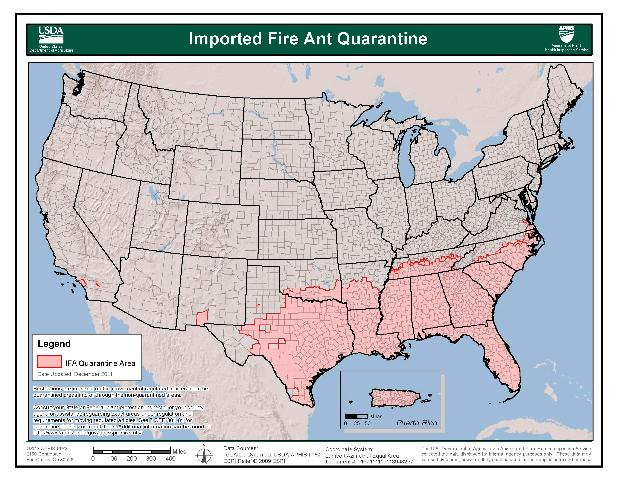 Imported Fire Ant Quarantine Area Map